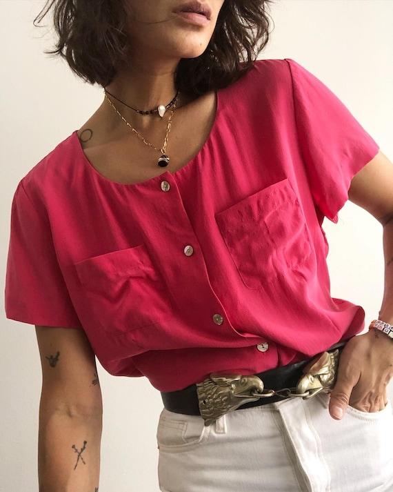 Vintage 100% silk cropped pink blouse