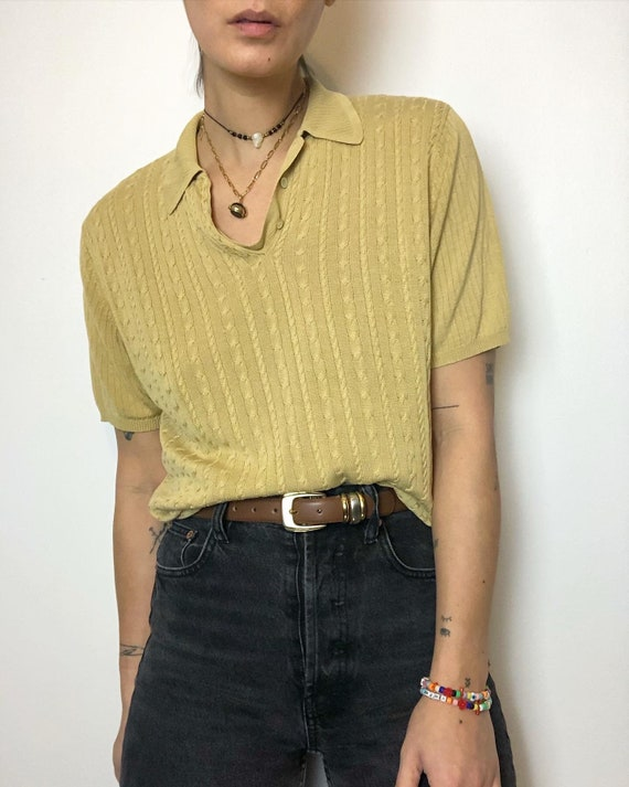 Vintage 100% silk knit polo tee