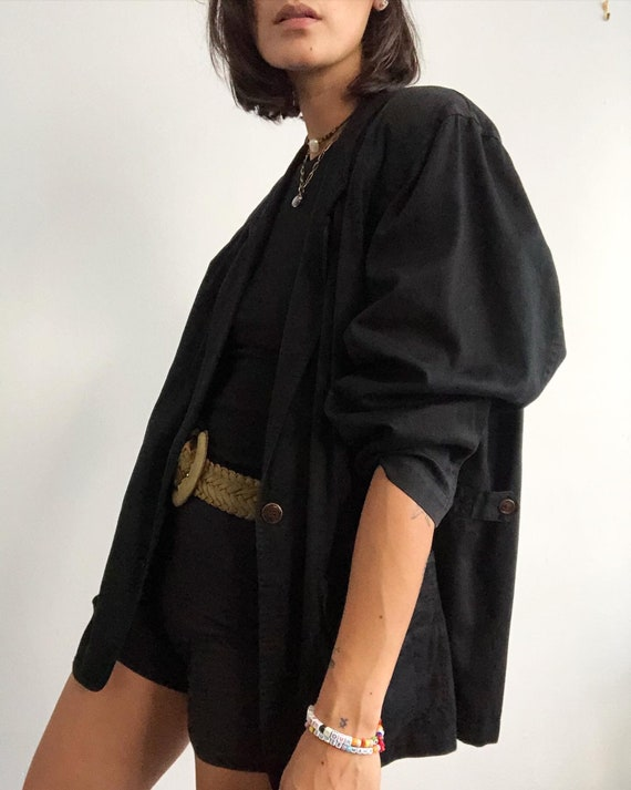 Vintage 100% cotton black oversized relaxed blazer