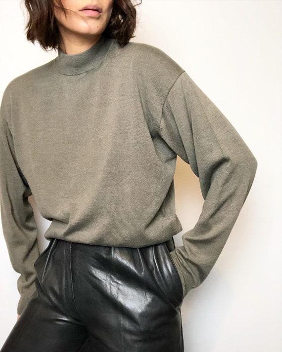 Vintage silk blend mock neck knit pullover