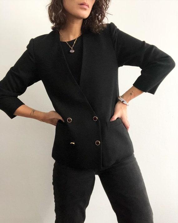 Vintage 100% wool minimalist collarless blazer