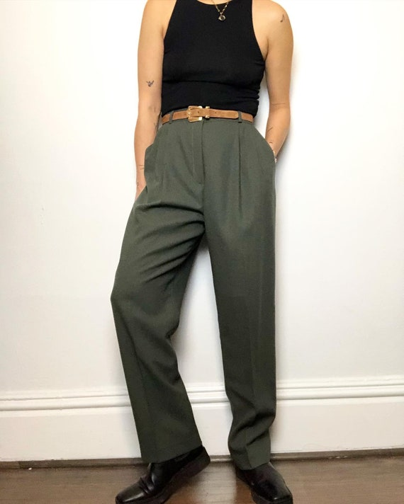 Vintage 100% wool high rise trouser