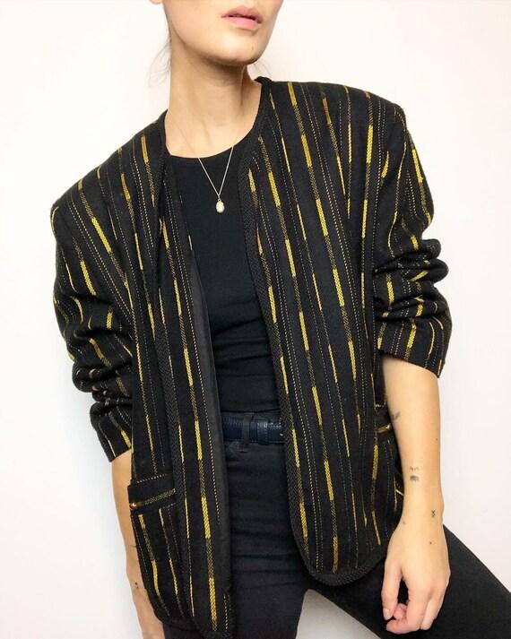 Vintage black & gold cropped blazer