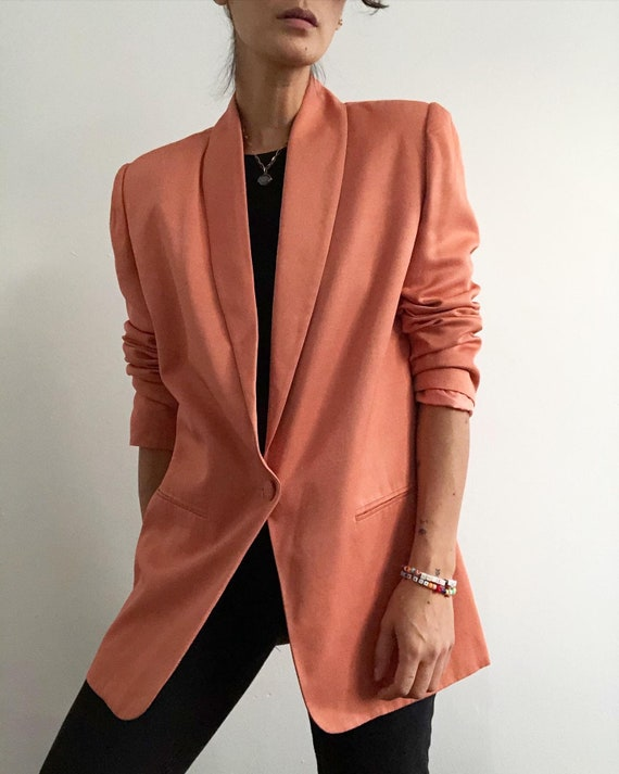 Vintage peach shawl collar blazer