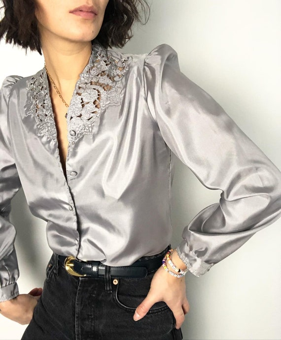 Vintage puff sleeve lace effect silver blouse