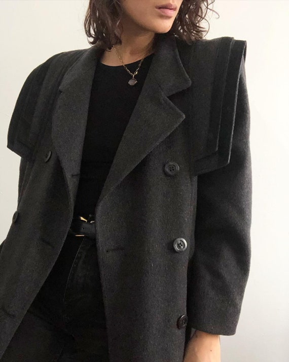 Vintage 100% wool suede shoulder duster coat