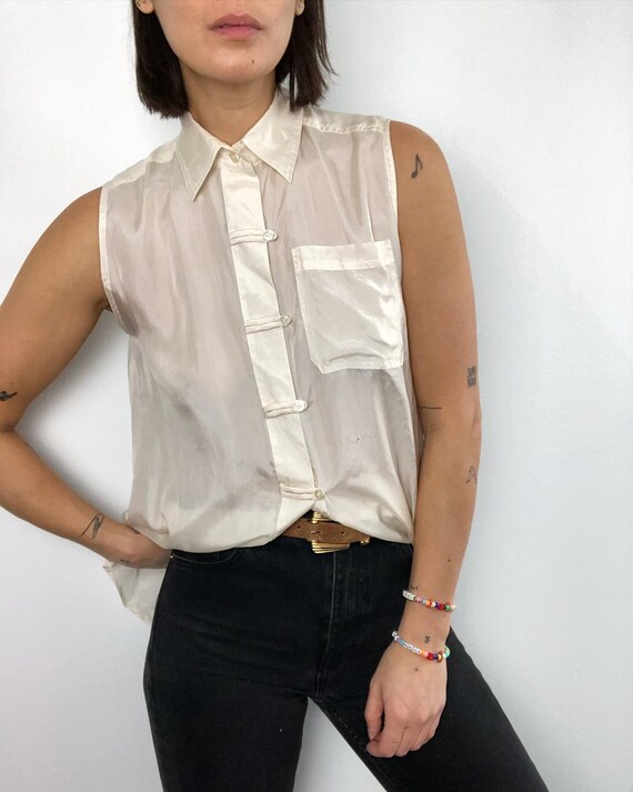 Vintage 100% silk paper thin tank