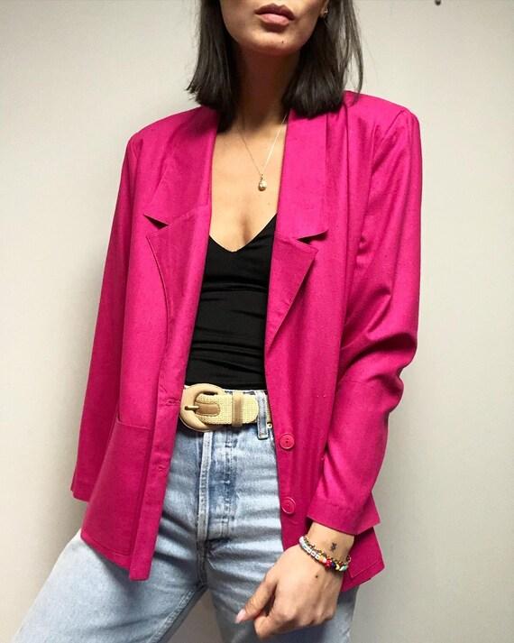 Vintage 100% raw silk hot pink classic blazer