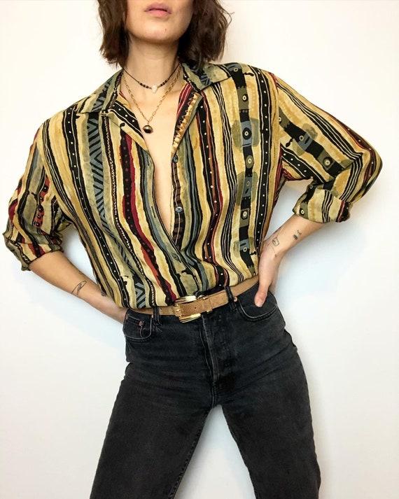 Vintage 100% silk printed blouse