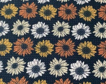 bows on nylons or clips 5.5-6x60 Pre-Cut Bullet Fabric Strips blue daisy for headwraps