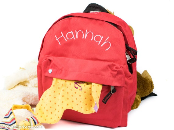 Children s backpack with name Red washable   Etsy c6c2f0de87