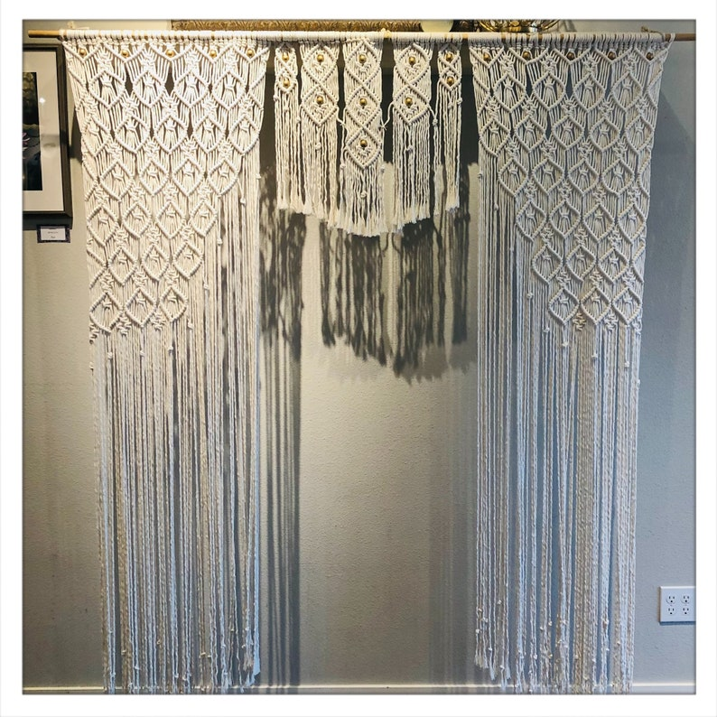 Macrame Large Curtain with Hand painted Gold Wooden Beads Macrame Wedding Backdrop Bohemian Decor 72x80