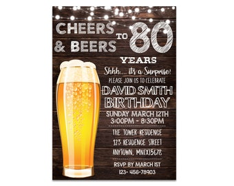 80th Birthday Invitation For Men Cheers And Beers To 80 Years Beer Surprise Invitations Invite BR99