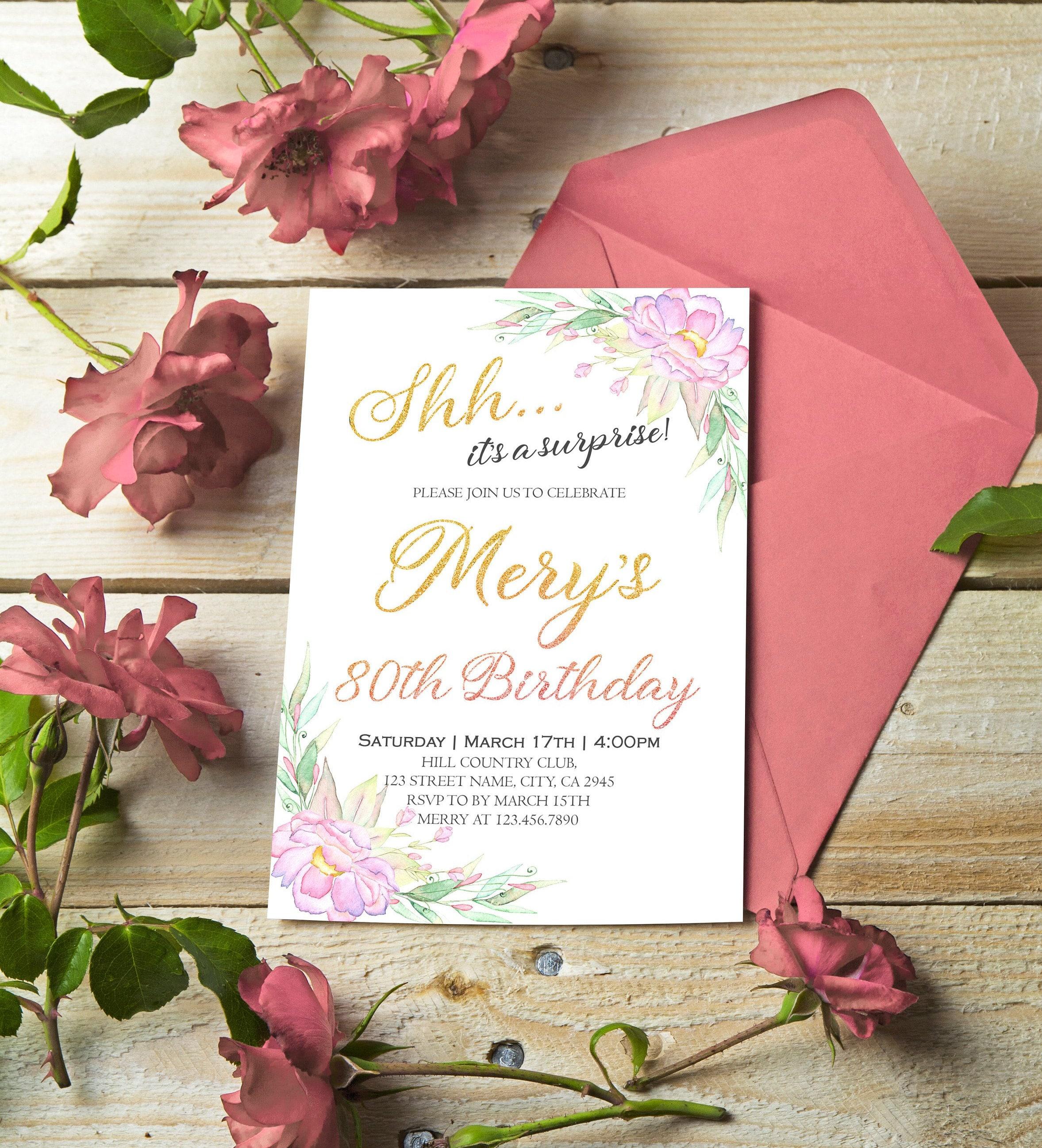 80th Birthday Invitation Blush Gold Floral Birthday Party | Etsy