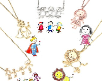 Actual Kids Drawing Necklace, Children Artwork Necklace, Kid Art Gift, Children's Drawing Necklace, Personalized Necklace, Grandma Gift