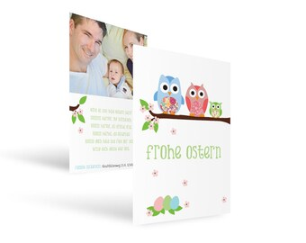 "Easter card ""high up-owls Easter"""