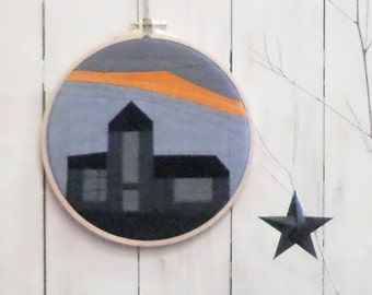 Wall painting Textiles picture | Small row of houses in embroidery frame church