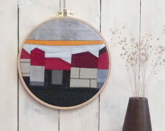 Wall image Textiles picture | Small row of houses in embroidery frame Red Grey