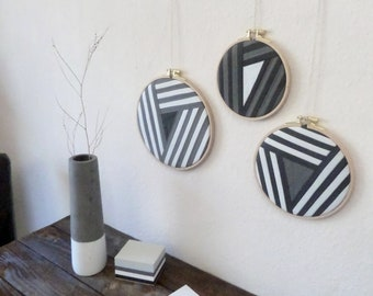 Wall image Textiles picture | Stripe Game - Modern Patchwork Grey Set of 3