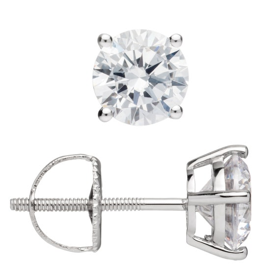 67e641dee70 14K Solid White Gold Round Cut Cubic Zirconia Stud Earrings