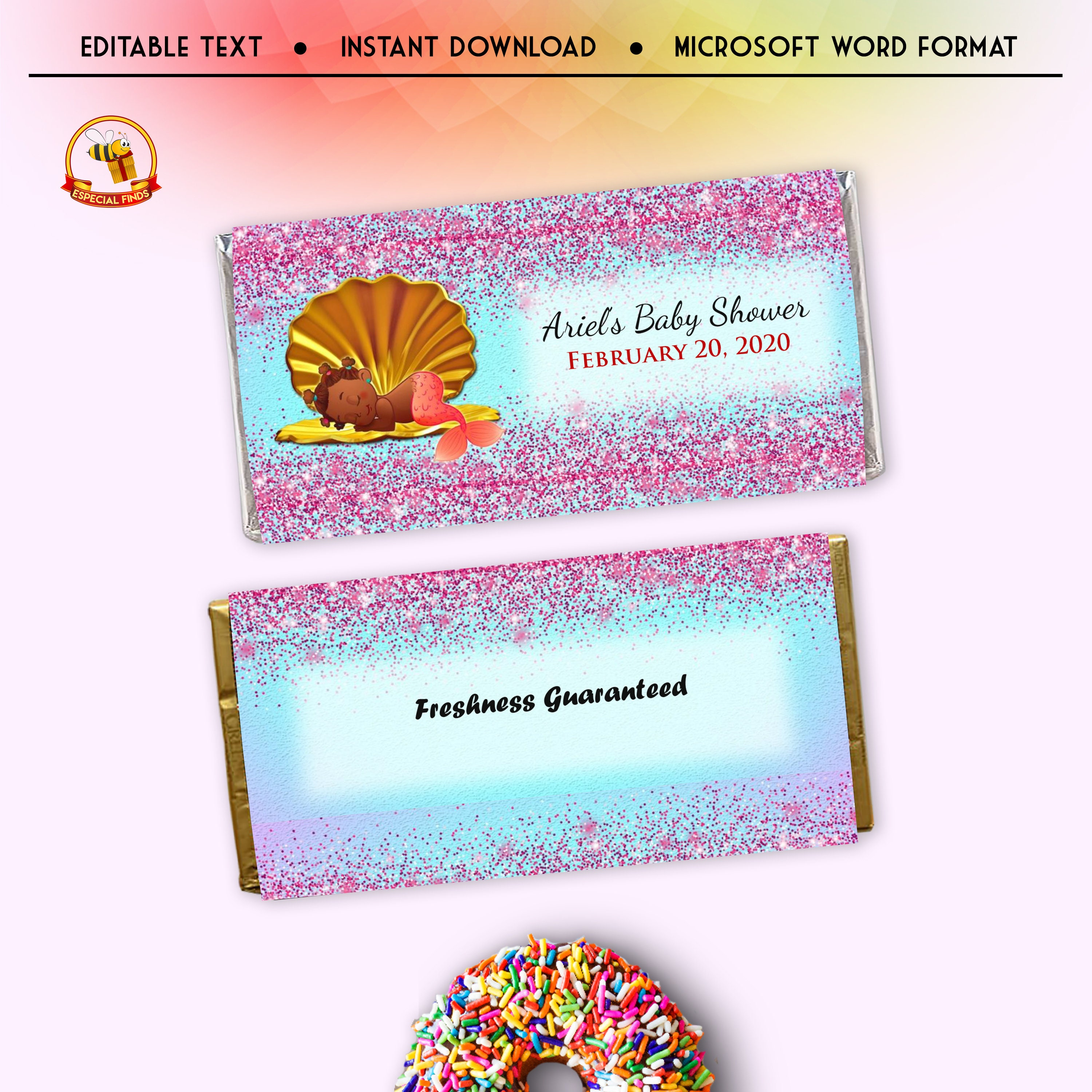 Little Mermaid Candy Bar Wrapper Template Baby Shower 21st  Etsy Inside Candy Bar Wrapper Template Microsoft Word