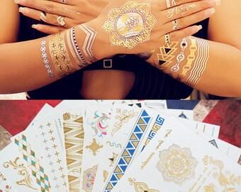 81b728439 5 Sheets Mandala Mehndi Tattoos, Terra Tattoos Stickers, Henna Tattoos,  Metallic Tattoos, Gold Tattoo, Flash Tattoo, Jewelry Tattoo