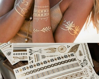 ff4073428 8 Sheets Temporary Gold Silver Boho Metallic Henna Tattoos Sticker,  metallic tattoos, gold tattoo, flash tattoo, jewelry tattoo