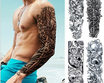 2701c91e54c48 4pcs Upmarket Fashion Full Sleeve Large Size Waterproof Arm Body Temporary  Tattoo Transfer Stickers For Men Removable Arm Men Fake Tattoo