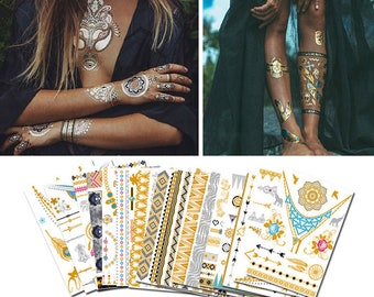 a0bb09e5bdde6 10 Sheets Temporary Gold Silver Boho Metallic Henna Tattoos Sticker,  Mandala Mehndi Tattoos, Metallic Tattoos, Flash Tattoo, Jewelry Tattoo
