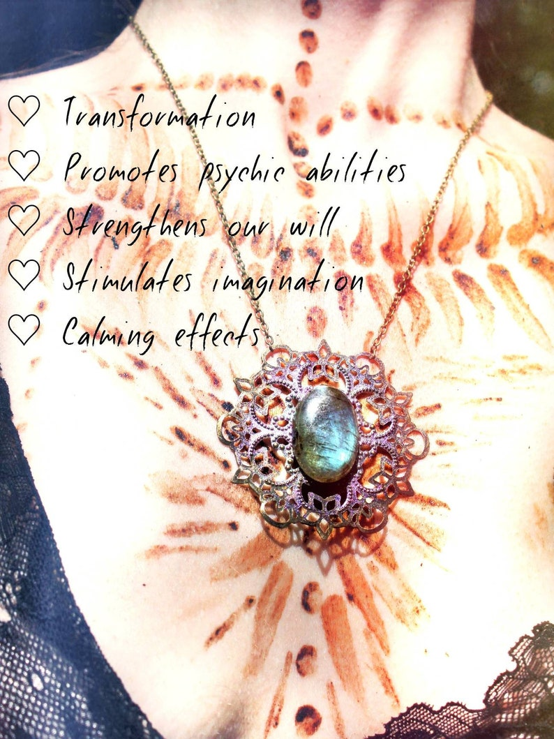 Rebirth \u2022 Healing Labradorite Stone of Consciousness on Flower Mandala \u2022 Moon Magic Self-Awareness