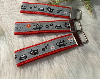Keychain, lanyard with cat motif