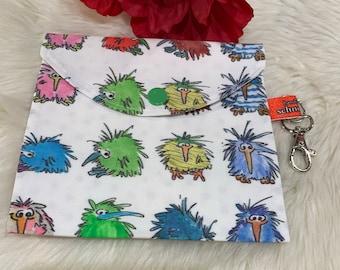Cosmetic bag, mask bag, mask bag, storage bag for mouthguard, cosmetic bag, kiwi birds, washable, gift