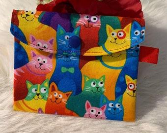 Bag for face mask, mask bag, bag for masks, storage bag for mouthguard, cosmetic bag, noseband, cats, washable