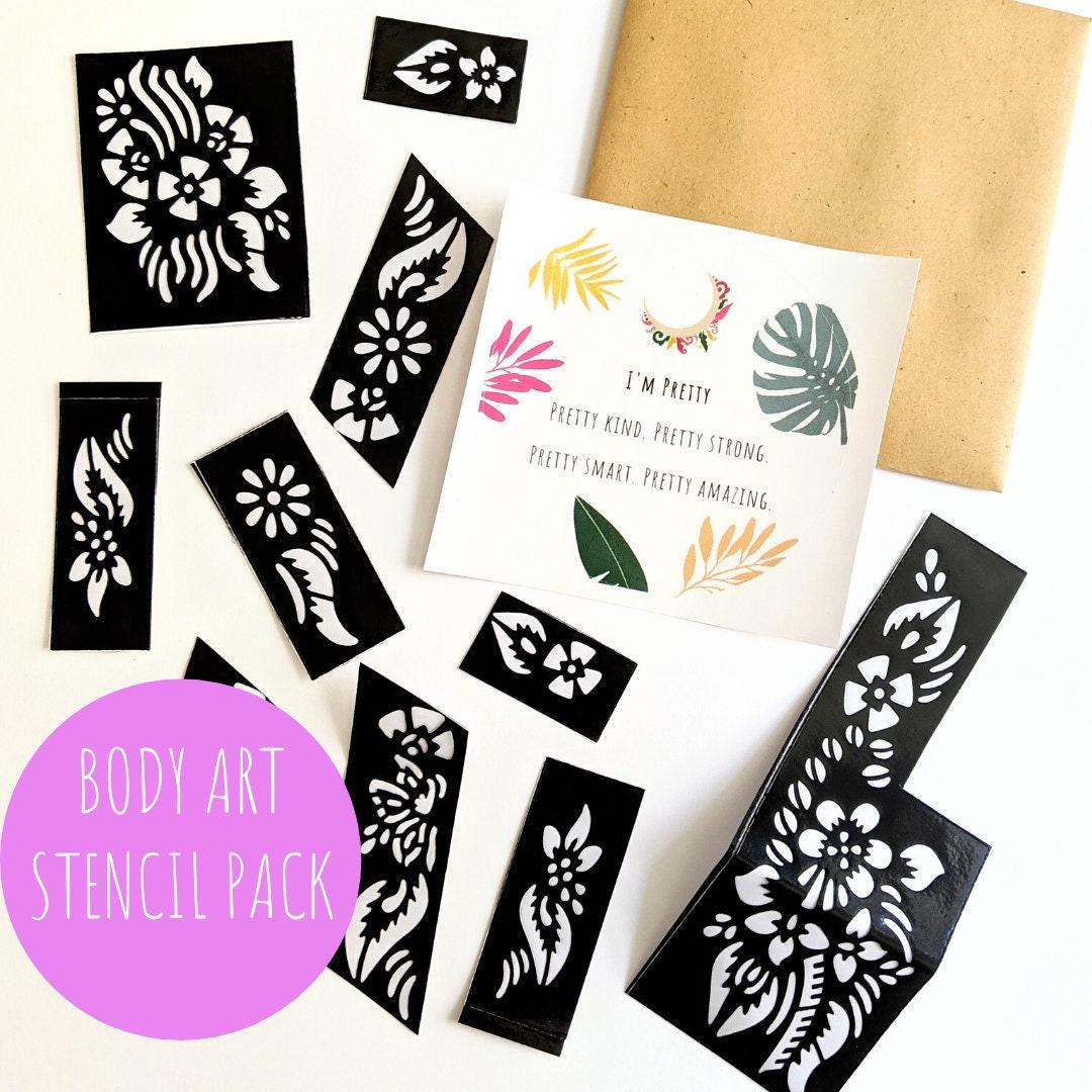 Body Art Stencil Pack 10 Designs Per Pack Free Sticker Etsy