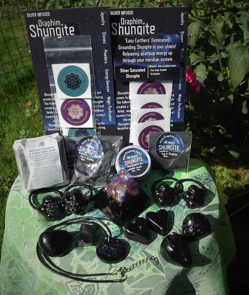 DELUXE SHUNGITE KIT: Pendant & pyramid Cell Phone Stickers image 0