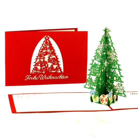 Frohe Weihnachten F303274r Kunden.3d Pop Up Card Christmas Fir Tree Gifts Noble Filigree Christmas Card With Envelope