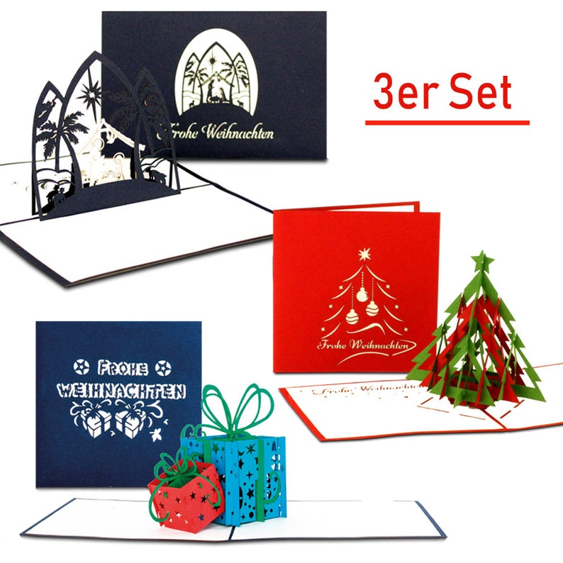 E Cards Weihnachten.3 Set Christmas Cards 3d Pop Up Cards Christmas Crub Christmas Gifts Tannenbaum As Gift Gift Card At Christmas