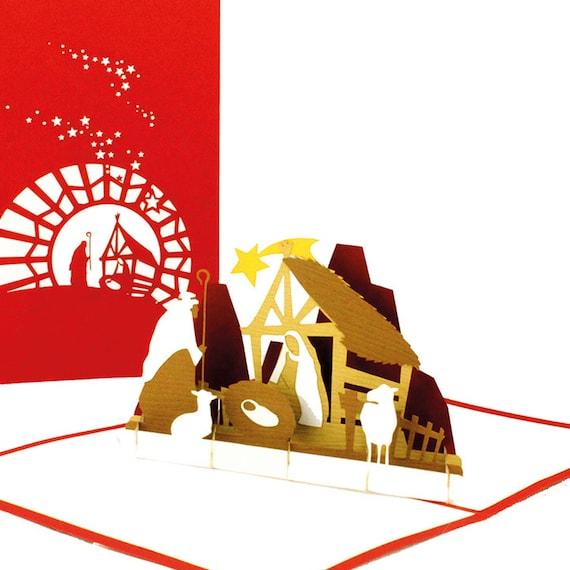 Weihnachtskarte 3D Pop Up Grußkarte handgefertigt Glückwunschkarte