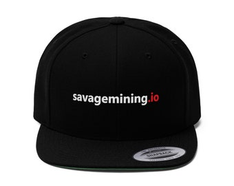 "Unisex ""savagemining.io"" Flat Bill Hat (White Text)"
