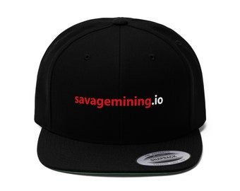 "Unisex ""savagemining.io"" Flat Bill Hat (Red Text)"