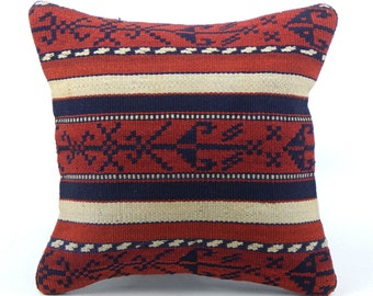 Extra Large Vintage Tribal Red and Faded Black Kilim Pillow