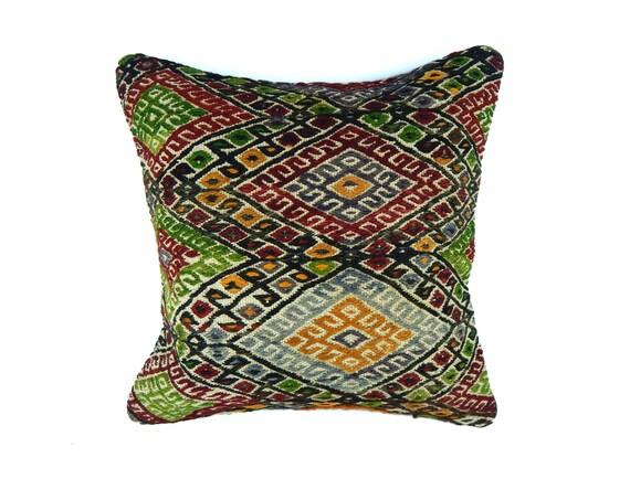 Kilim Pillow 16x16 Colorful Pillow Vintage Pillow 40x40 Decorative Pillow Throw Pillow Couch Pillow Cover Diamond Pillow Kelim Kissen