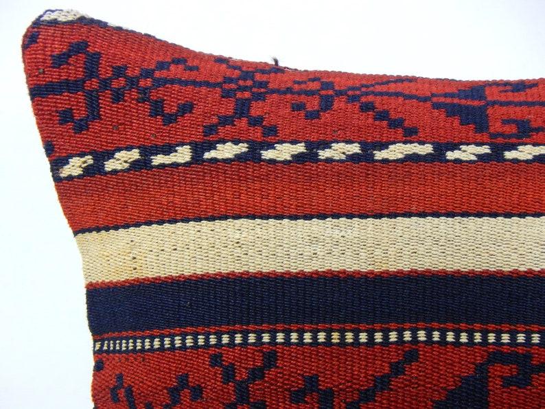 Boho Throw Pillow Vintage Turkish Pillow Small Sofa Cushion Tribal Rug Cushion 30x30 Kelim Kissen Red Kilim Pillow 12x12
