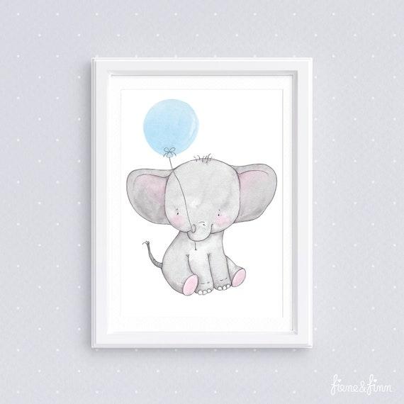 Kinderzimmer Bild Emma Elefant Blau Kinderbild Etsy
