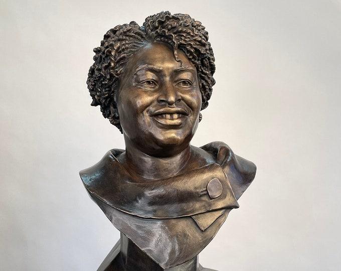 Stacey Abrams Portrait Sculpture Bonded Bronze, Life-Size