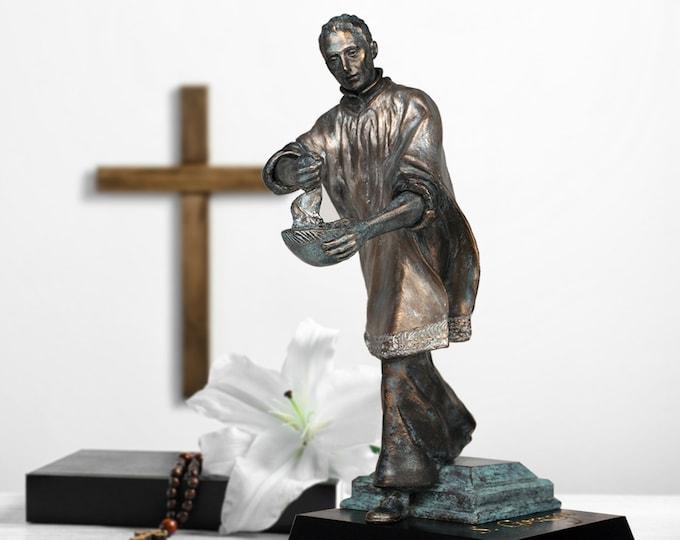 St. Aloysius Gonzaga Statue 12 Inch High Bonded Bronze Sculpture