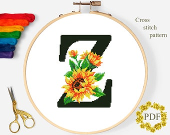 Letter Z Cross Stitch Pattern PDF, Floral Monogram, Flower Sunflower, Modern Cross Stitch Pattern, Digital Download PDF, Hoop, Home Decor