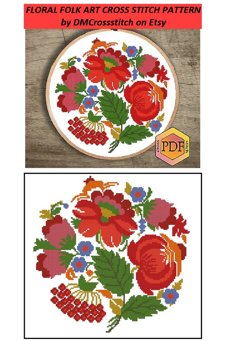 Floral Modern Cross Stitch Pattern PDF Nature Folk Art Ornament Hoop Embroidery Instant Download Flowers Counted Cross Stitch Chart