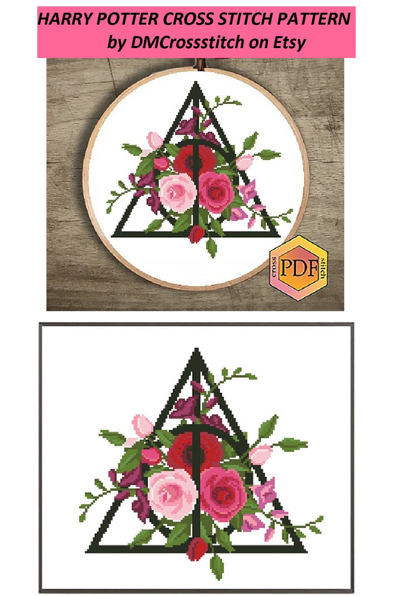 Floral Bouquet Cross Stitch Magic Symbol Nature Cross Stitch Embroidery Instant Download Flowers Roses Modern Cross Stitch Pattern PDF