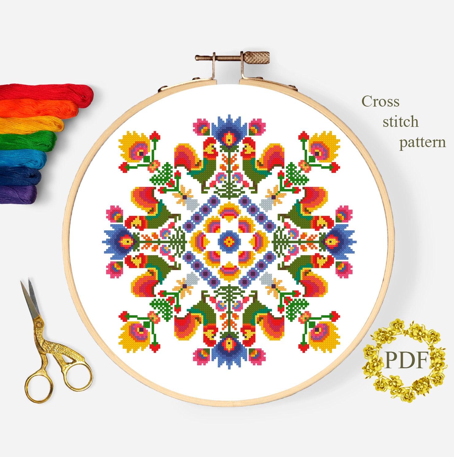 Folk Letter A cross stitch pattern PDF Modern monogram initial cross stitch Polish folk art Counted cross stitch chart Instant download #41